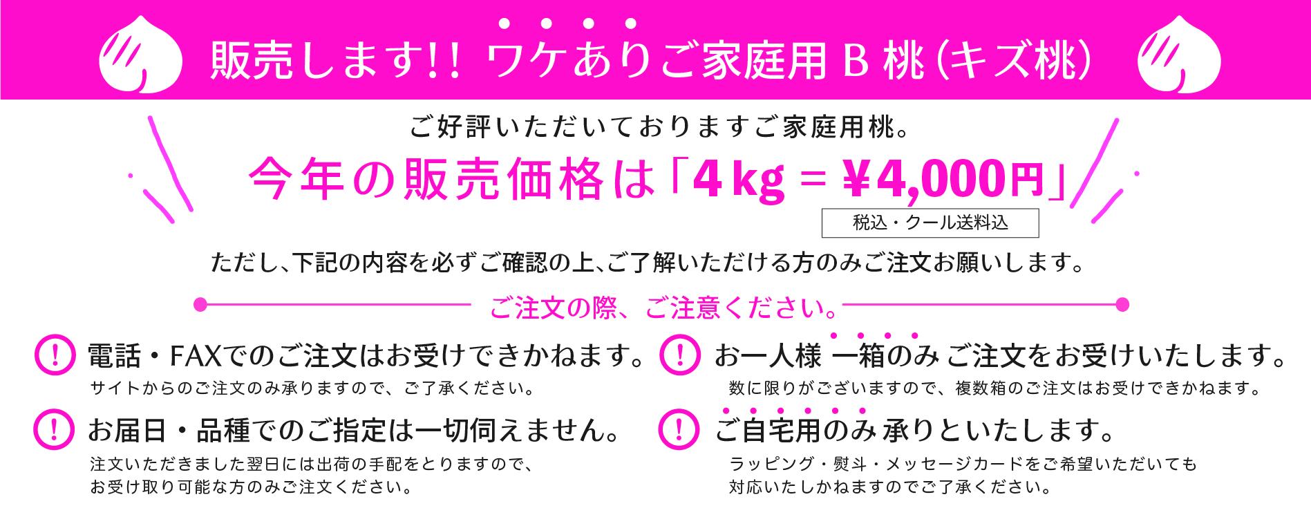 【送料無料】B桃(ご家庭用桃たっぷり約4kg)クール便